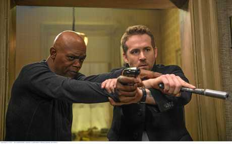 Samuel L Jackson and Ryan Reynolds in a scene from the movie The Hitman's Bodyguard. Supplied by Roadshow Films.