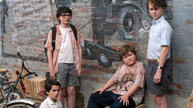 Wyatt Oleff, Finn Wolfhard, Jeremy Ray Taylor, and Jack Dylan Grazer in a scene from the movie It.