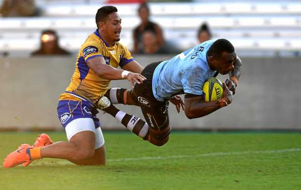 Samu Suguturaga of Fiji (right) has been banned for 20 weeks for biting the ear of Andrew Ready.