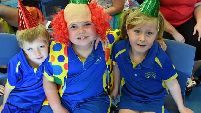 COMMUNITY SPIRIT: Eddie, Blake and Ellie-May at the Celebration of Learning Day at Bundaberg Special School yesterday.