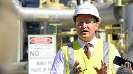 Queensland Treasurer Curtis Pitt announces the reopening of the gas-fired power station, Swanbank E.