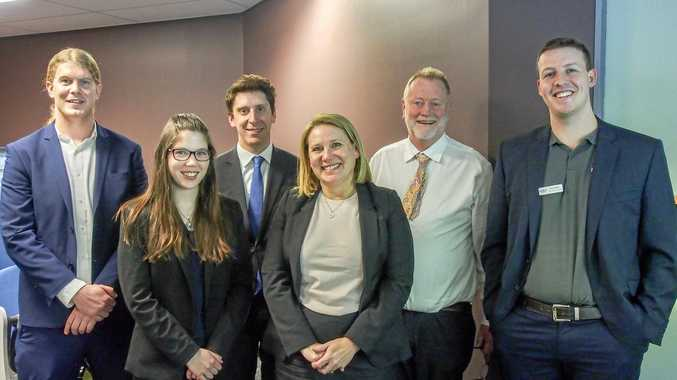 LEGAL EAGLES: (Left to right) Angus Murray, Erin McDonald, Zachary Kaplan, Julie Copley, Steve Kissick and Chris Ritchie