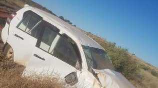 The hire car of desert survivor Tom Mason after it rolled more than 140km from Yulara. Picture: TOM MASON