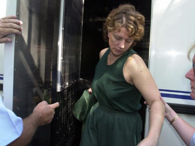 Kathleen Folbigg at a court bail application in 2001 before her trial for killing her four children. Picture: Renee Nowytarger.