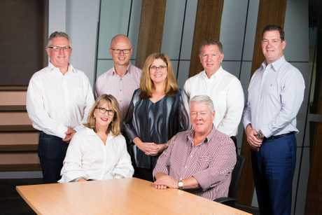 The first board of Darling Downs Tourism, Tony Heckendorf, Isaac Moody, El Kratzmann, Russell Peters, David James, Ruth Wetmore (CEO) and Mr John Wagner (chairman). Geoff Davenport is absent.