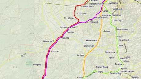 The final route shown by the purple line will run through Pittsworth and Brookstead, connecting to the Wellcamp Charlton industrial precinct area.