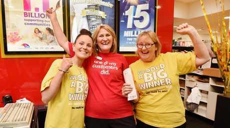 $30 million lotto win - (L) Lucy Marshall, Leonie Ellis and Chris McKechnie from Nextra Fraser Gateway Newsagency.