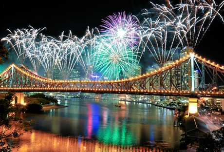 Fireworks on Brisbane's Story Bridge.