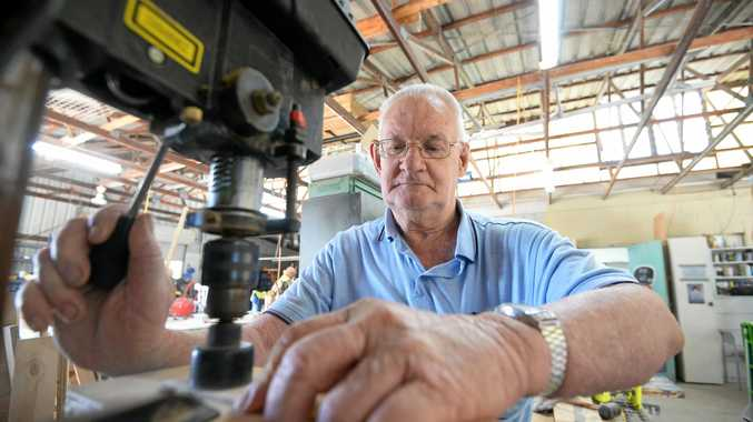 The Rockhampton Men's Shed's Lionel Palfrey in the shed at CQUniversity.