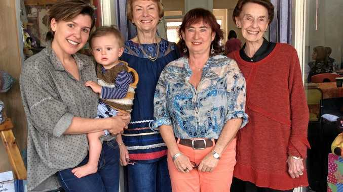 FRESH FACES: Younger women are joining the Bangalow CWA as they learn there's more to this group than tea and scones. L to R; India Reynolds and Austin, Jan Roberts, Bev Kliger, Madge Fishburn