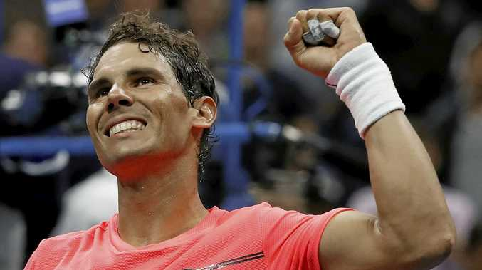 Rafael Nadal celebrates after beating Andrey Rublev, of Russia.