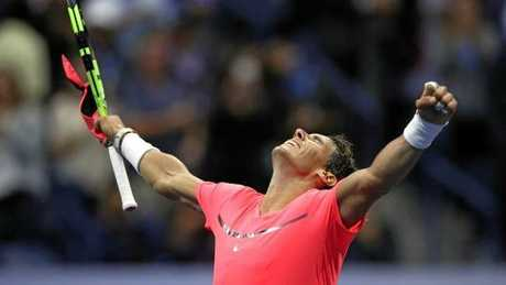 Nadal celebrates after seeing off his teenage challenger.