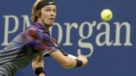 Andrey Rublev watches the ball during his match with Rafael Nadal.