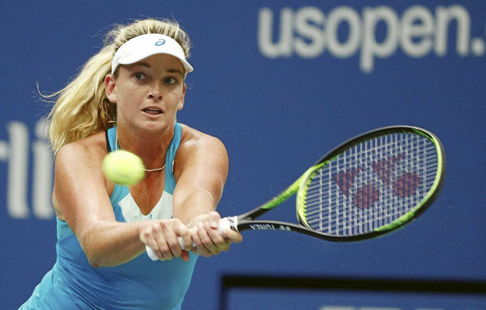 CoCo Vandeweghe of the US hits a return to Karolina Pliskova of the Czech Republic during their US Open Tennis Championships quarter-final.