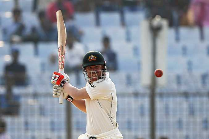 David Warner plays a shot during the second day of their second test cricket match against Bangladesh in Chittagong.