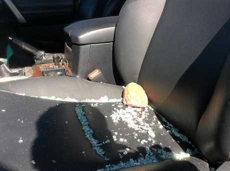 ROAD RAGE: The rock thrown through an elderly man's car window, hitting him in the shoulder.