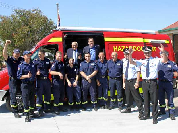 FEEL THE HEAT: New South Wales Fire & Rescue crews and staff from the Northern Rivers at Goonellabah Station were delighted to receive the keys to their new $105,000 Hazmat van from Thomas George MP and Troy Grant MP, Minister for Police and Emergency Services.