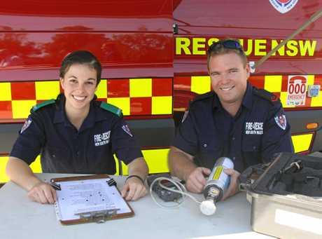 FEEL THE HEAT: NSW Fire & Rescue Goonellanah fire-fighters, Madeline Hidalgo and Jeffrey Catt with their new Hazmat van.