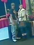 WANTED BY POLICE: The two people captured on CCTV footage stealing the boomerang.