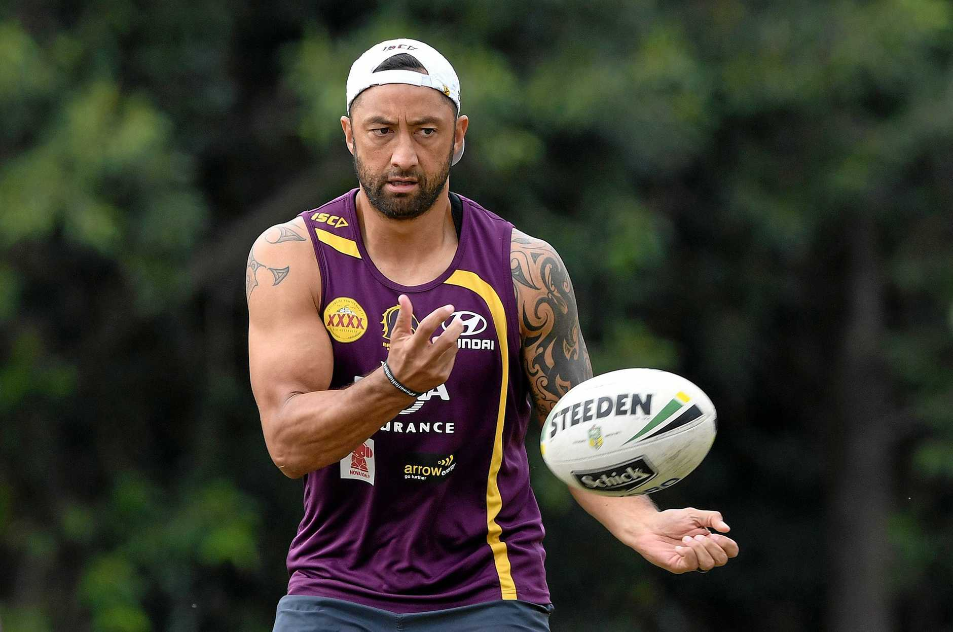 Benji Marshall during a Brisbane Broncos training session at Red Hill.