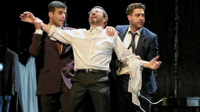 DRAMA: Fayssal Bazzi, Mitchell Butel and Damien Strouthos on stage during a performance of Bell Shakespeare's The Merchant of Venice.