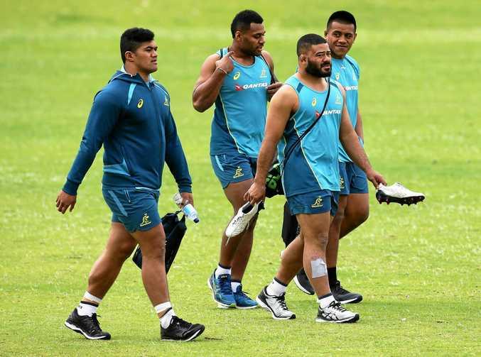 FROM LEFT: Jordan Uelese, Samu Kerevi, Tolu Latu and Allan Alaalatoa arrive at a Wallabies training session at McGillivray Oval in Perth.