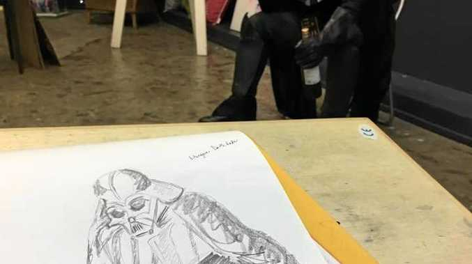 A sketch by Kerri-Anne Mesner from a Life Drawing session where the model wore a Darth Vader costume.