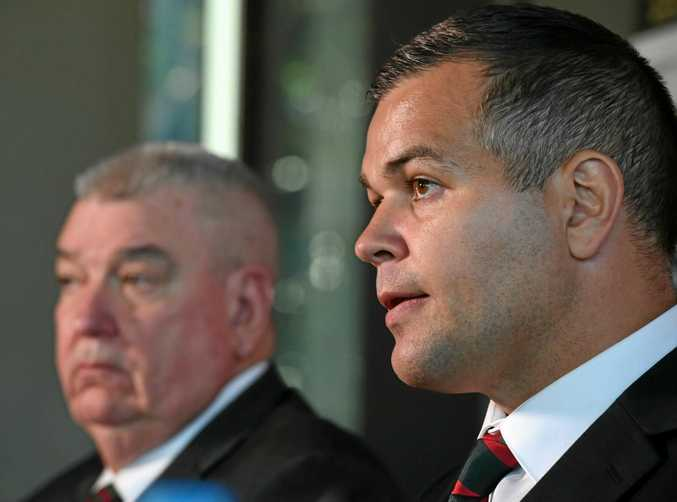 Newly appointed South Sydney Rabbitohs coach Anthony Seibold (right) with general manager of football Shane Richardson.