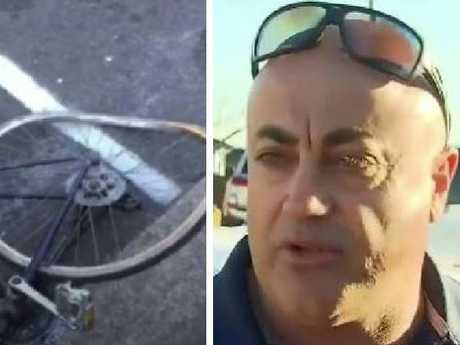 The damaged bike on the road, left, and right, The ute driver talks to media about the road rage incident.