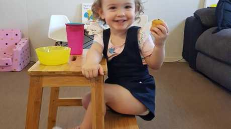 Lisa's daughter Chloe loves mealtime so much now she even loves washing her hands mum says! Image: Supplied