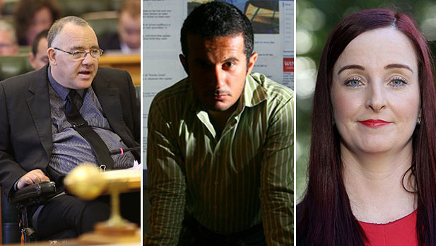 Cairns MP Rob Pyne (left), accused stalker Petros Khalesirad, and Keppel MP Brittany Lauga.