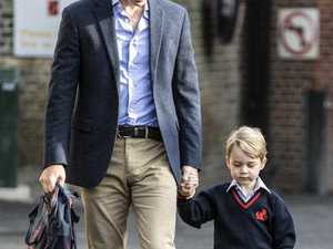 Schoolboy George's first day with Prince William by his side