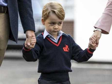 Britain's Prince George arrives for his first day of school at Thomas's school in Battersea, London, Thursday, Sept. 7, 2017. Prince William's pregnant wife Kate was too ill with morning sickness Thursday to take young Prince George to his first day of school. Richard Pohle/Pool Photo via AP