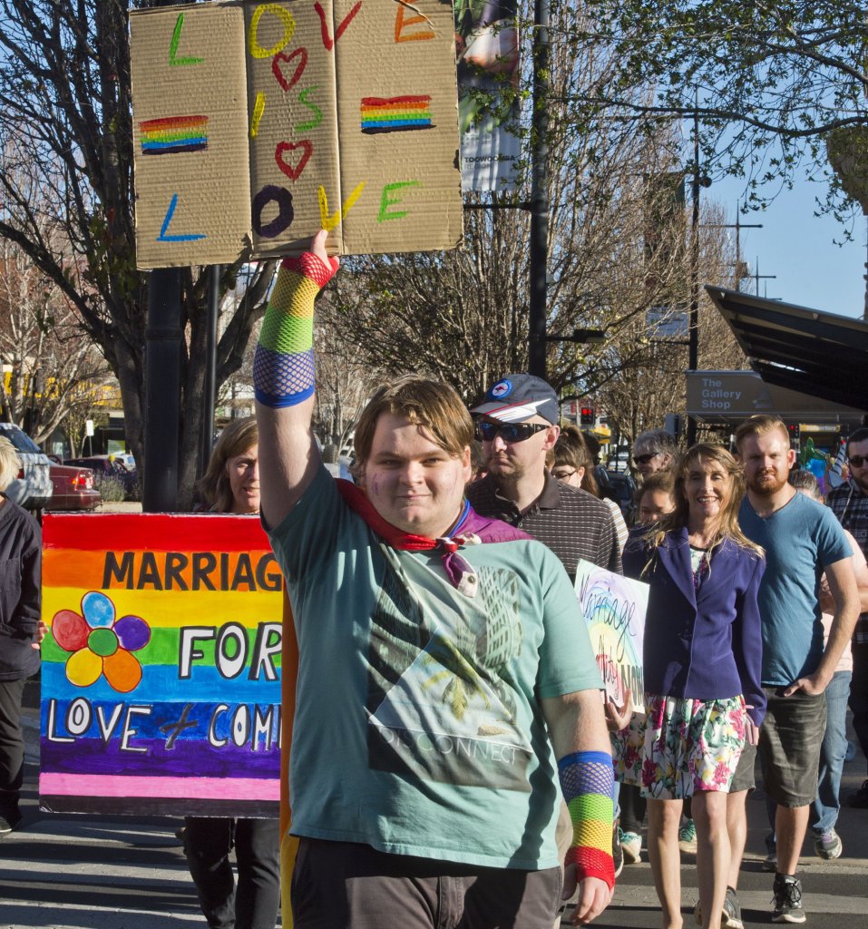 Thomas Coyne leads the March for Marriage Equality in Toowoomba. Friday, 8th, Sep, 2017.