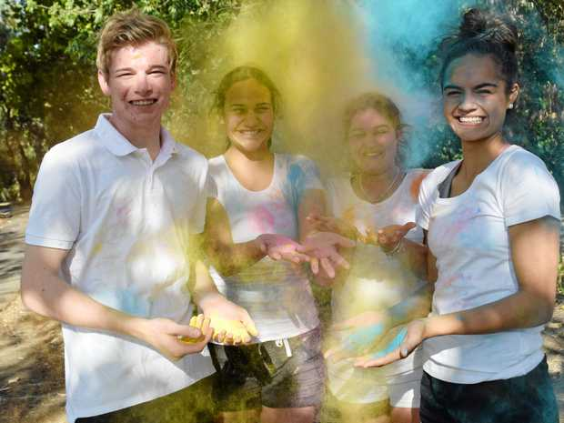 COLOUR UP: Year 12 Emerald State High students Jacob Firth, Fiona Stevens, Hailey Lancaster and Courtney Moana are ready for the 2017 Emerald Colour Run. Participants are enocouraged to wear white for the fun run at the Emerald Botanic Gardens.