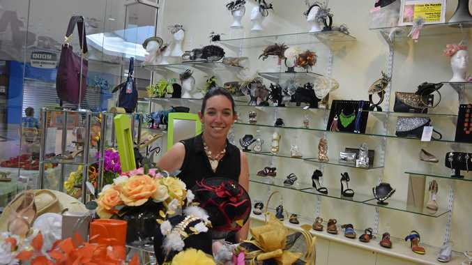 BRISK BUSINESS: Jackee Warry, of DJ's Shoes, has been selling out of fascinators, bags, shoes and accessories for the Thangool Cup this weekend.