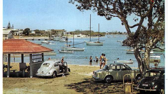 ANYONE FOR A PICNIC?: Mooloolah River and picnic reserve, Mooloolaba, ca 1960.