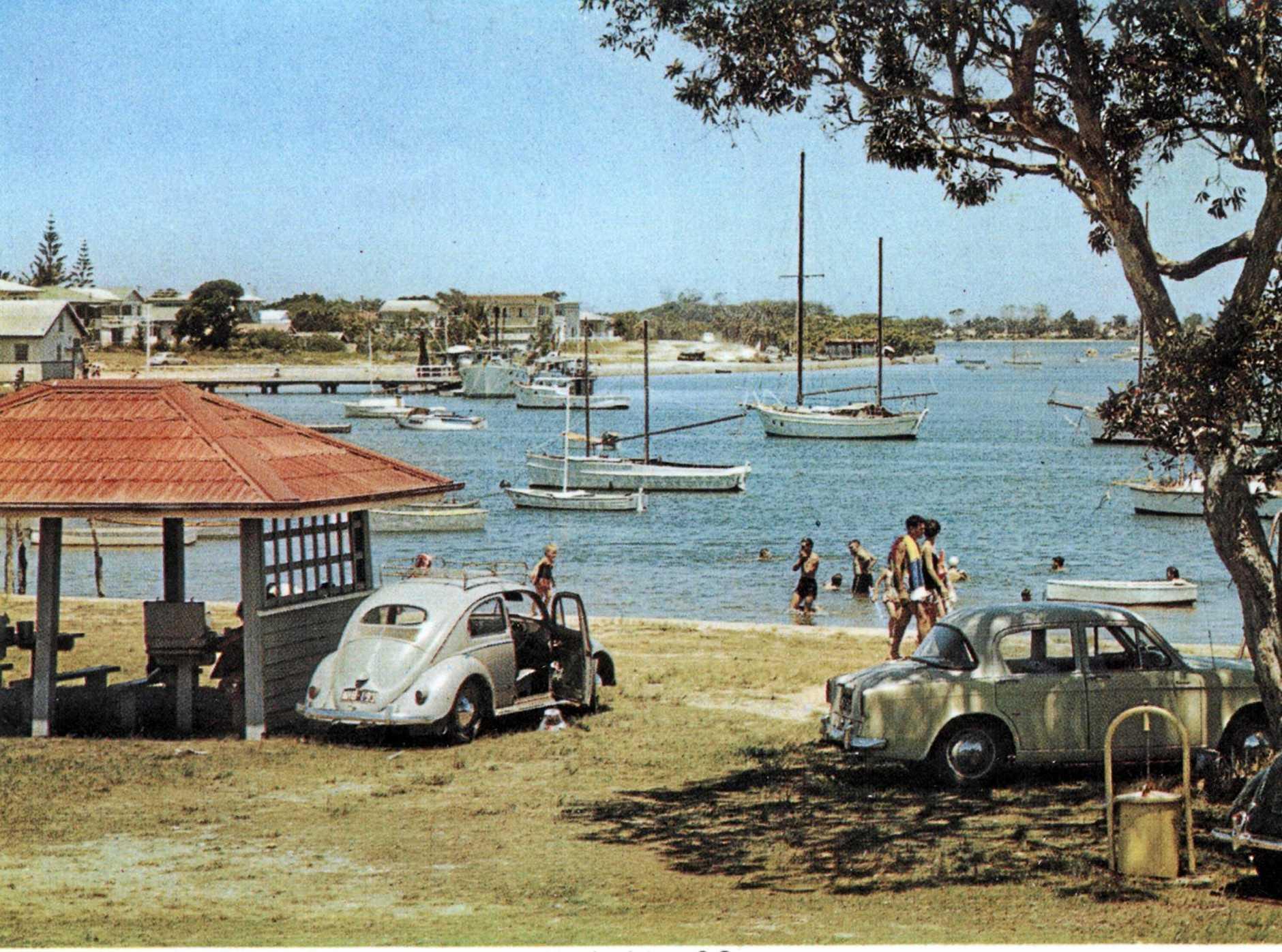 ANYONE FOR A PICNIC?: Mooloolah River and picnic reserve, Mooloolaba, ca 1960.