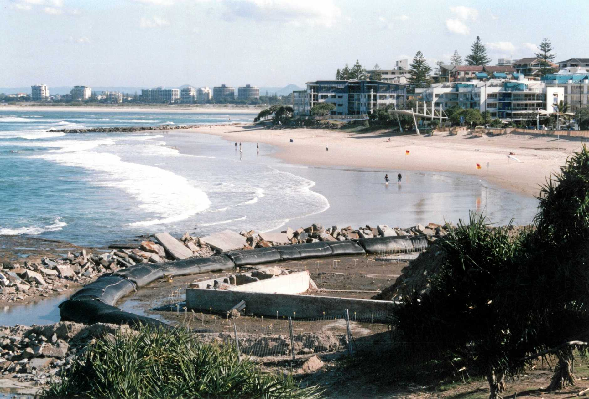 Kings Beach foreshore, ca 2006, showing work on the Sir Francis Nicklin Memorial 25m pool redevelopment.