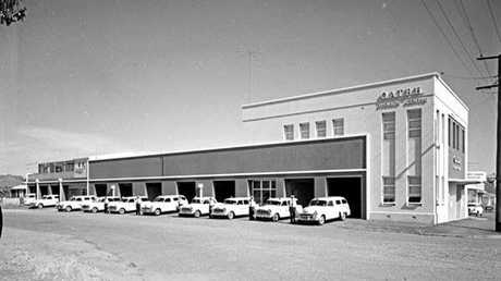 The ambulance fleet outside the North Ipswich station in 1960.