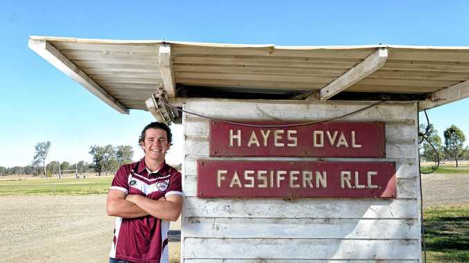 COUNTRY PRIDE: Fassifern Bombers diehard Landon Hayes at Hayes Oval, a venue he always enjoys visiting.