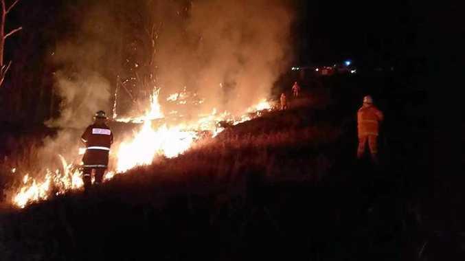 FIRE DANGER: Casino-Yorklea RFS posted this photo on Facebook of crews battling a blaze at Hogarth Range.