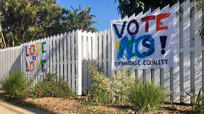 A marriage equality sign in Bangalow was defaced overnight.