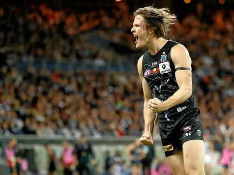 Jared Polec of the Power celebrates a goal.