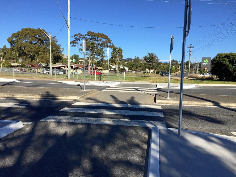 CROSS HERE: The new pedestrian crossing in Woolgoolga.