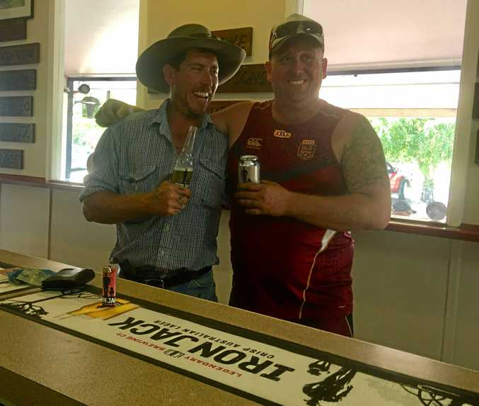 Locals Luke Odger and Mick Smith enjoying a couple of Iron Jacks at the Pinnacle Pub on Friday afternoon.