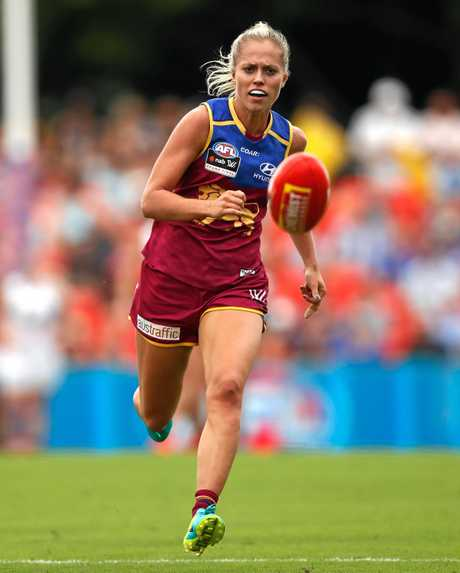 Kaitlyn Ashmore of the Lions during the 2017 AFLW grand final against the Crows at Metricon Stadium.