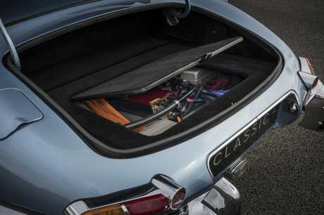 Jaguar E-Type Electric Car, a 1968 model updated in September 2017 with an electric motor and lithium-ion battery pack by Jaguar Classic Car Division.