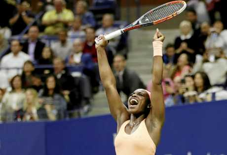 Sloane Stephens, of the United States, reacts after defeating countrywoman Venus Williams in the US Open semi-finals.