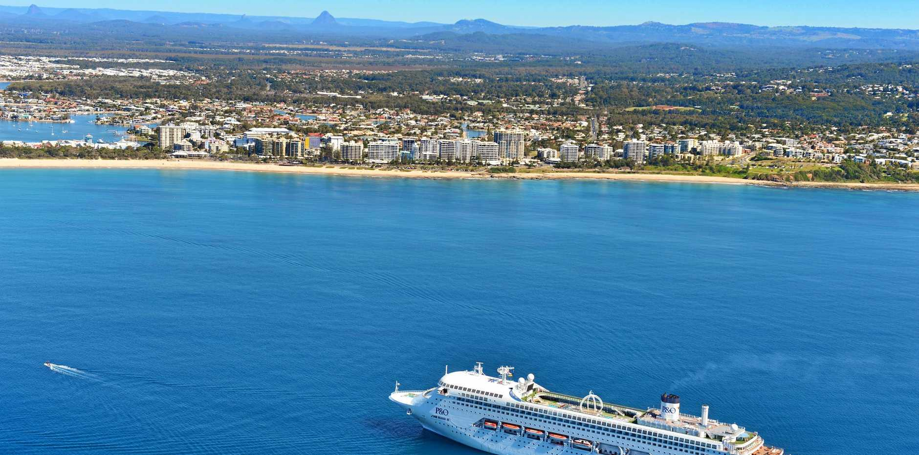 TOURISM BOON: P&O's Pacific Jewel anchors off Mooloolaba on a beautiful and perfect winter's day.